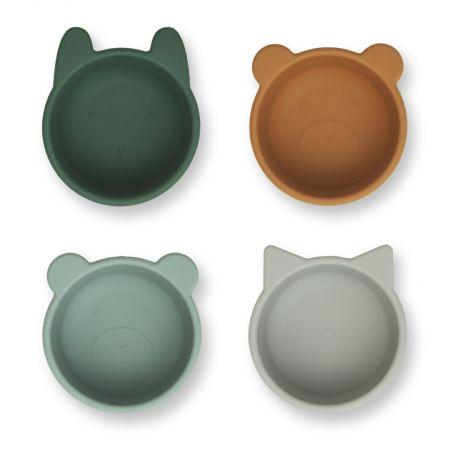 Malene siliconen bowls - 4 pack - Green multi mix