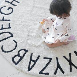 Rond wasbaar tapijt ABC - Natural-Black - 150 cm Ø