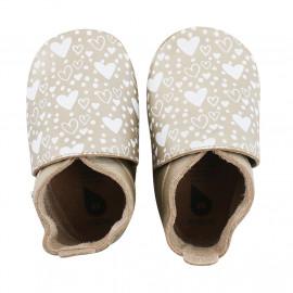 babyslofjes soft sole 'gold heart print'